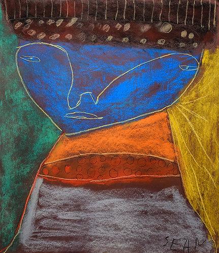 Sylvain Serneels - kleurrijk portret met blauw hoofd