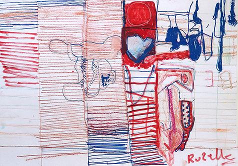 Rozette Goovaerts - rood en blauwe gestreepte compositie