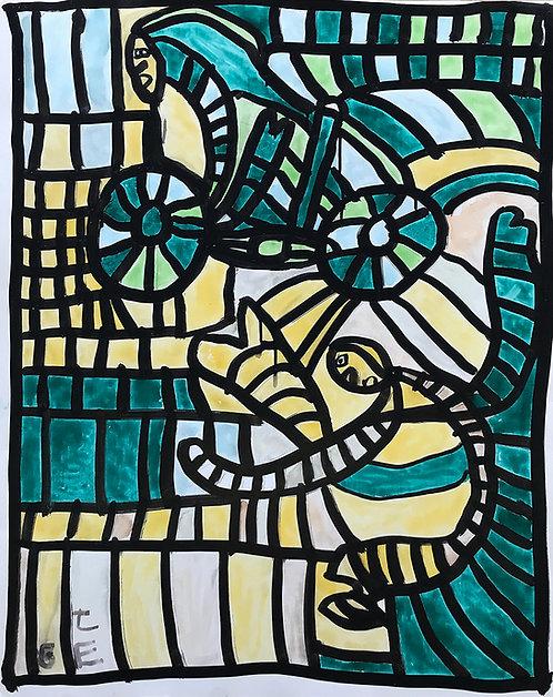 Jef Cloostermans - twee figuren en fiets in groen en geel