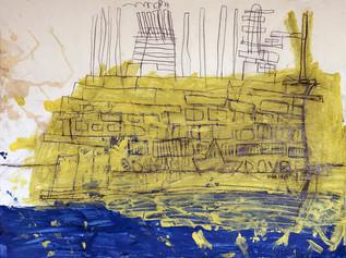 gedetailleerd zeeschip met geel