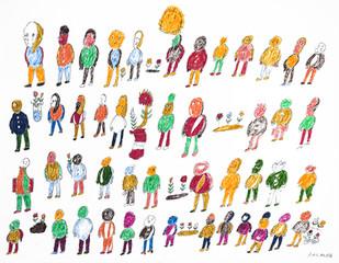 veel kleurrijke mensen en bloemen