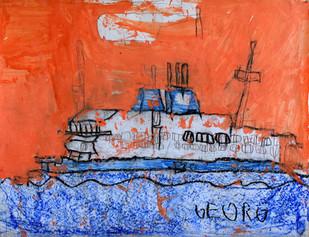 ferry in oranje lucht