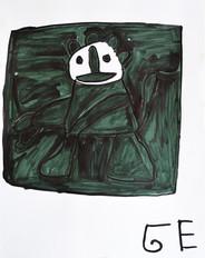 groen figuur met wit gezicht