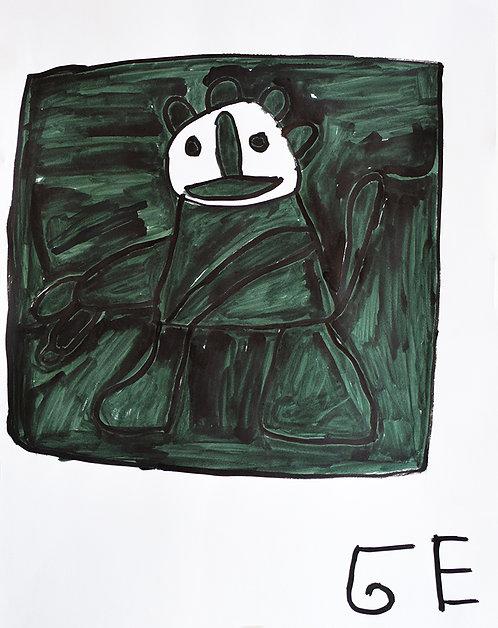 Jef Cloostermans - groen figuur met wit gezicht