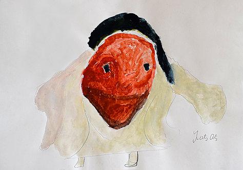 François Oste - boos figuur met creme kleed