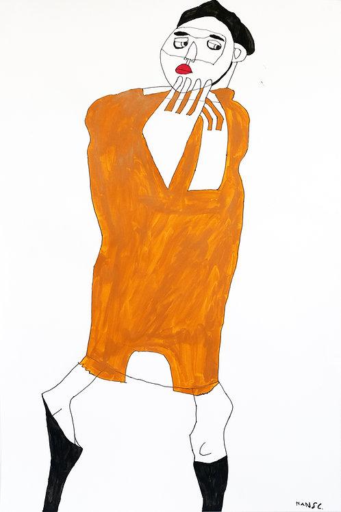 Hans Cortebeeck - man met bruine jurk