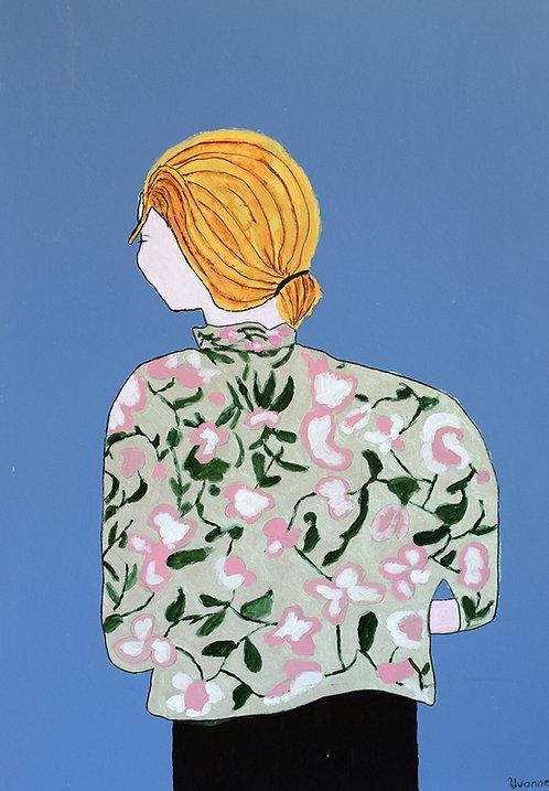Yvonne Backs - Vrouw op de rug gezien met bloemenbloes