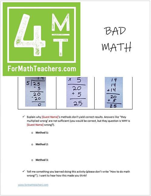 Bad Math Skit Reflection Activity