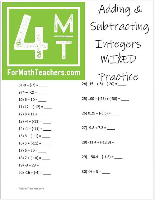 Adding and Subtracting Integers Mixed Practice