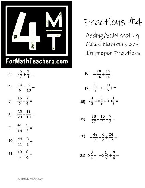 Adding & Subtracting Fractions #4