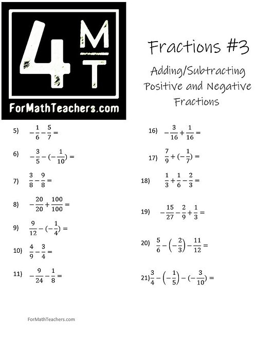 Adding & Subtracting Fractions #3