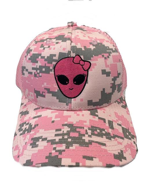 Pink Alien Girl Camo Cap