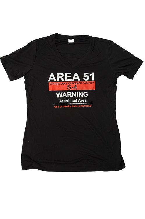 Ladies Area 51 Warning Short Sleeve Sport-Tee