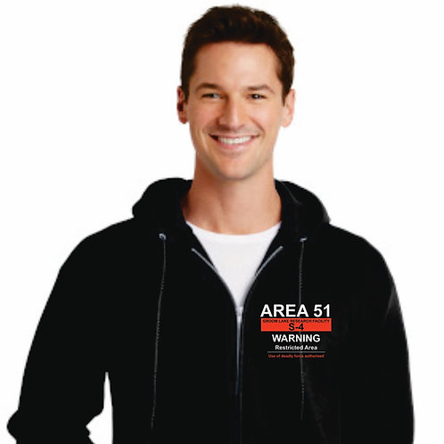 Area 51 Warning Zipper Hoodie