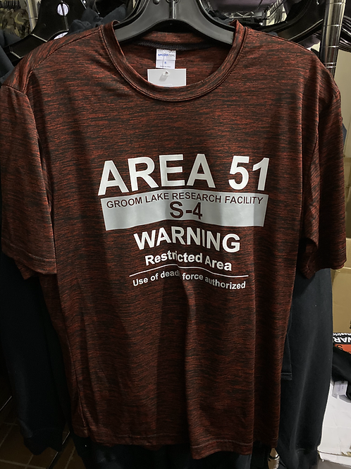 Area 52 Warning Sign Red Heather Sport-Tee