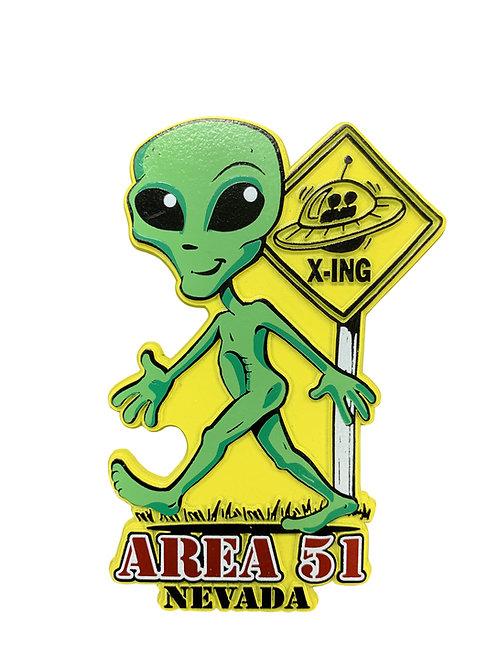Alien Crossing Refrigerator Magnet