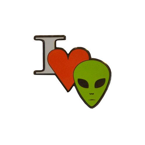 I Love Aliens Lapel Pin