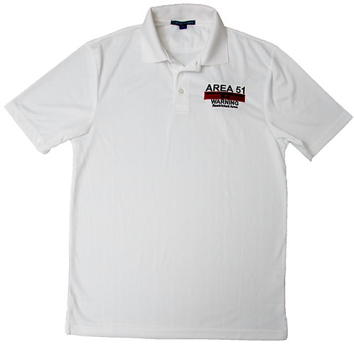Area 51 Warning Sign, White Logo, Golf Shirt