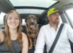 A haapy dog with his new family, on a road trip
