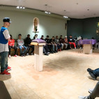 Speaker sharing his story at Good Sheppard