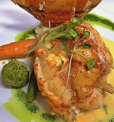 The Palms Restaurant Fresno, CA Chardonnay Poached Lobster Tail Seafood
