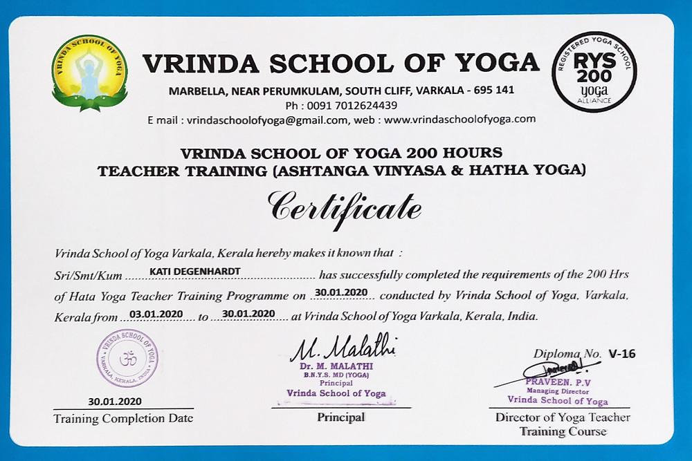 RYT200 Certificate