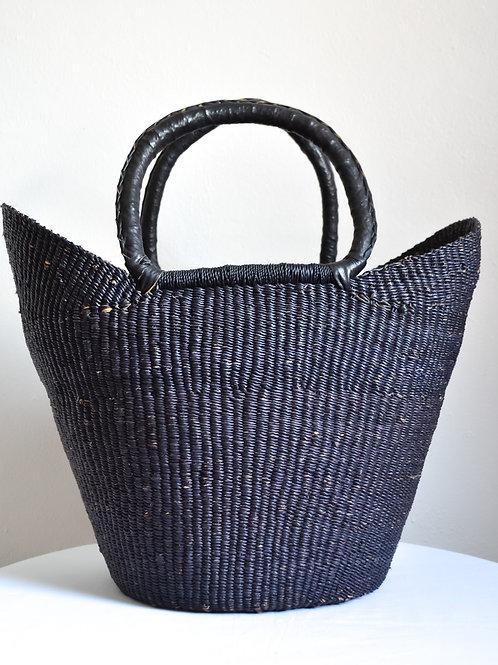 Handwoven Market Basket (Charcoal)