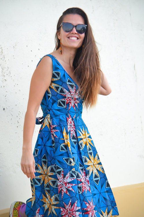 Bold Blue Wrap Dress (Size 10 - One Piece only)