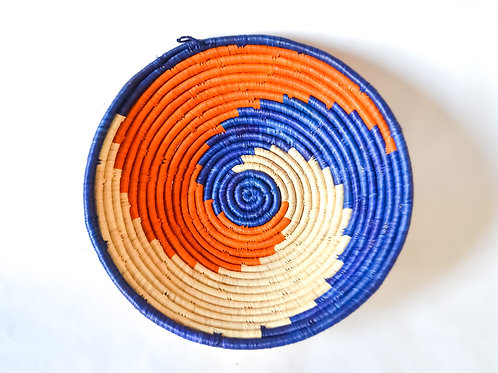 Handwoven Basket Bowls - Blues & Oranges