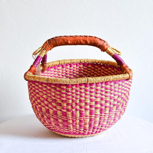 Round Bolga Basket Small (Pink Beige)
