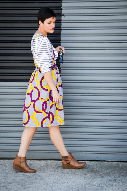 Street Style Pinafore Midi Skirts (Size L)