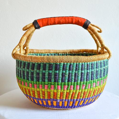 Round Bolga Basket Medium (Turquoise Purple)