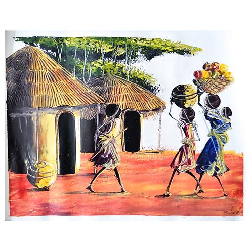 A Scene from the Masai Village - Artwork (unframed) - 30 x 40 cm