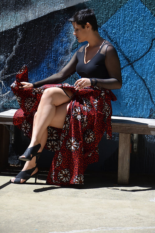 Long Wrap Skirt in Eclectic Red Pattern (FREE SIZE)