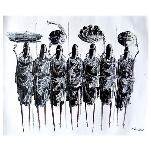 It takes a Village (in B&W) - Artwork (unframed) - 30 x 40 cm