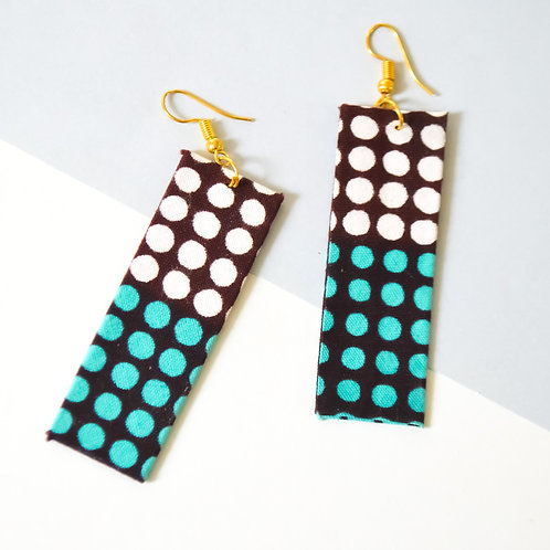 Edgy Rectangle Fabric Earrings (Various Colours)