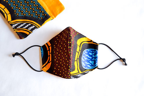 Fabric Face Mask - Brown Yellow Blue Pattern