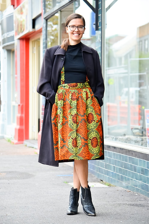 Street Style Pinafore Midi Skirts (Colour Choices Available)