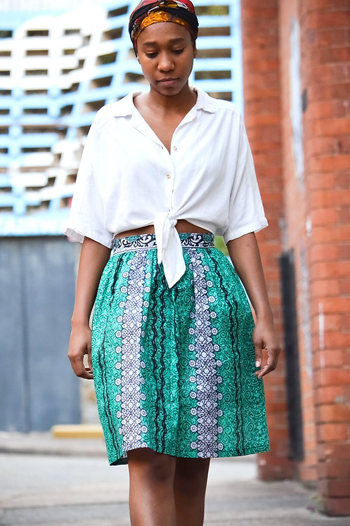 Summer Skirt in Turquoise Pattern (Size 10)