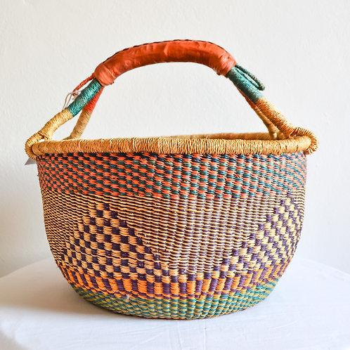 Round Bolga Basket Medium (Beige Purple)