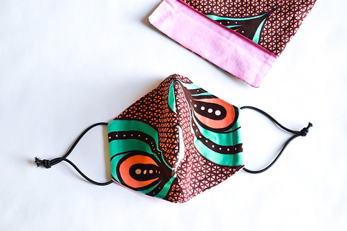 Fabric Face Mask - Peach Turquoise Pattern