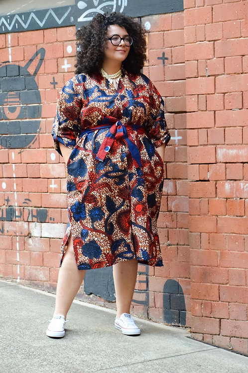 The Versatile Button-down Dress / Duster Coat in Blue Maroon Floral Pattern