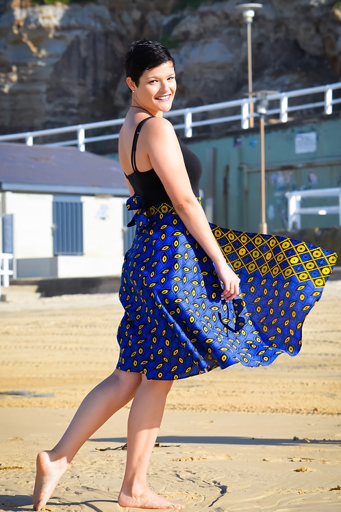 Knee Length Wrap Skirt in Cool Blue Pattern (FREE SIZE)