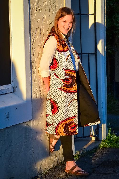 Kimono Jacket Sleeveless in Fan Print (Size Large)