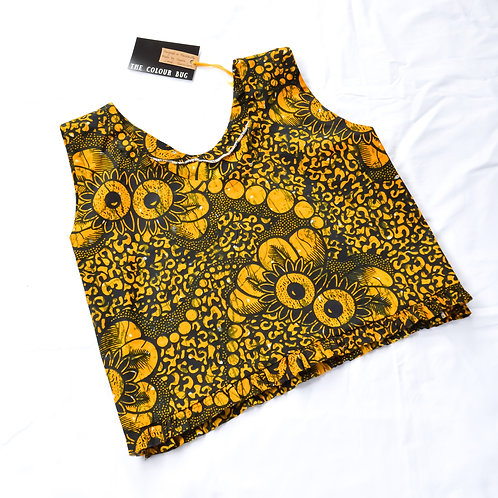 Distressed Crop Top in Yellow Black Pattern (Size L-XL)