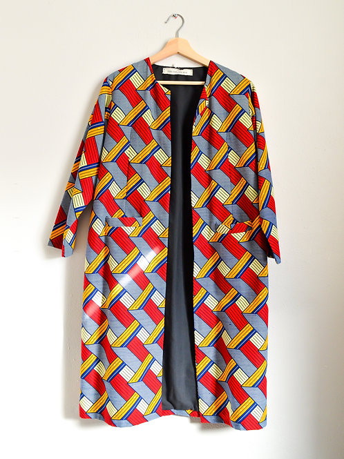 Occasional Artist's Jacket Long in Bold Red Pattern (Size M)