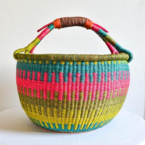 Round Bolga Basket Medium (Pink Lime Turquoise)