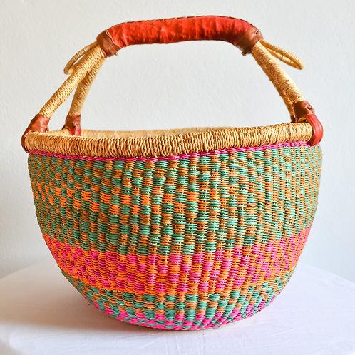 Round Bolga Basket Medium (Pastel)