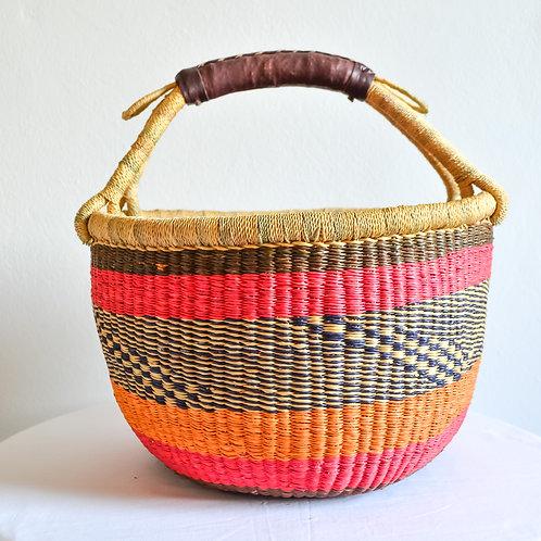 Round Bolga Basket Medium (Sunset Colours)