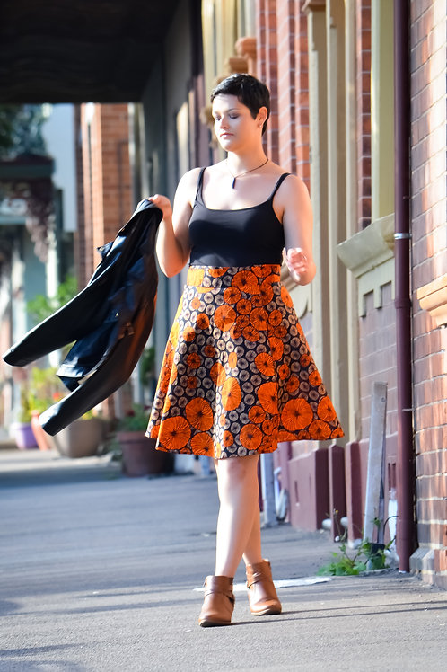 Knee Length Wrap Skirt Orange Pumpkin Pattern (FREE SIZE)
